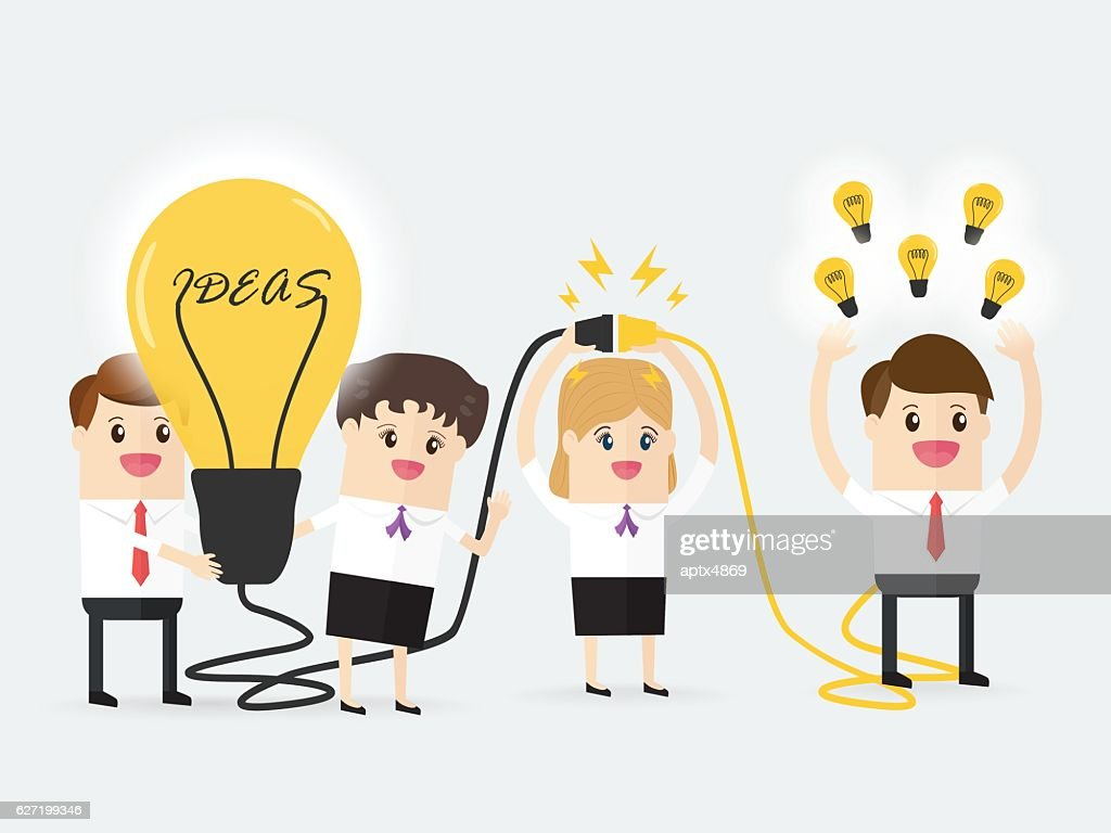 businessman and businesswoman connecting brain coworker with powerful ideas