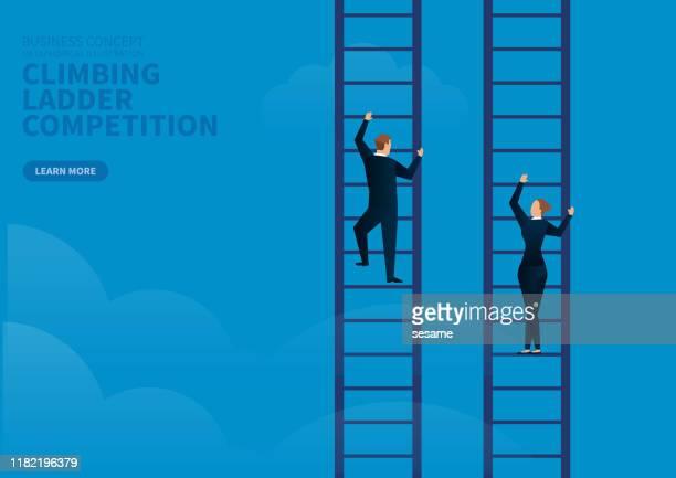 businessman and businesswoman contest climbing ladder - human gender stock illustrations
