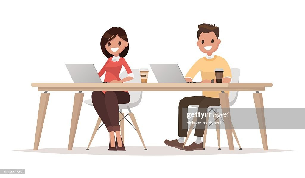 Businessman and  businesswoman for the common desktop work