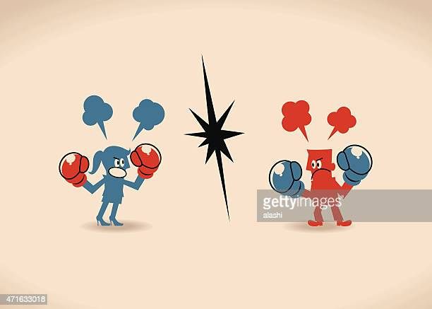 businessman and businesswoman having a fight with boxing gloves - battle of the sexes concept stock illustrations
