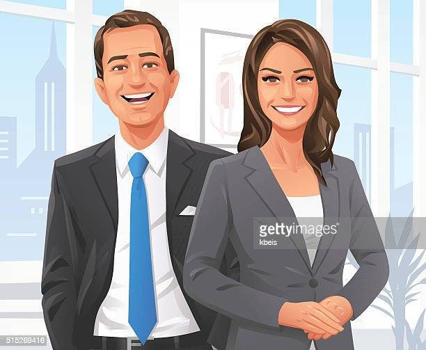 businessman and businesswoman in the office - smiling stock illustrations