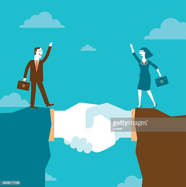 ilustraciones, imágenes clip art, dibujos animados e iconos de stock de empresario y empresaria en giant handshake a las montañas/nuevos negocios - patrocinador