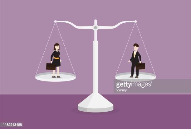 geschäftsmann und geschäftsfrau auf der waage - geld verdienen stock-grafiken, -clipart, -cartoons und -symbole