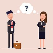 Businessman and businesswoman or managers thinks. Question mark in speech bubble. Concept of the thought process. Flat characte in cartoon style.