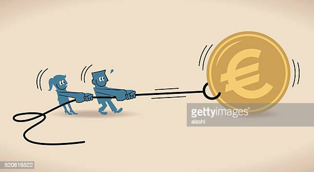 Businessman and businesswoman pulling Euro sign coin symbol with rope