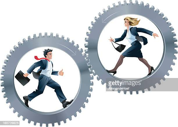 Businessman and Businesswoman Running in two Gear Wheels