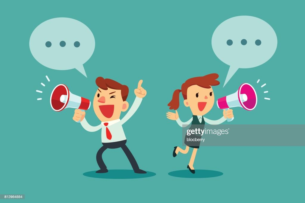 businessman and businesswoman talking in megaphone