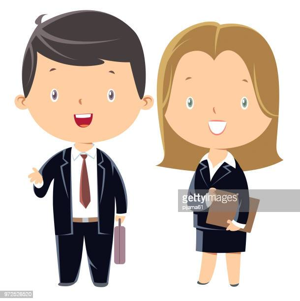 ilustrações de stock, clip art, desenhos animados e ícones de businessman and businesswoman - mulher de negócios