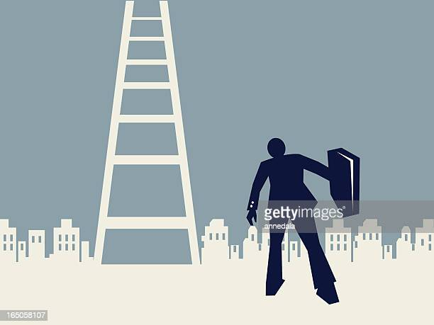 businessman and ladder to success