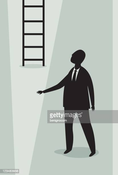 businessman and ladder - corporate hierarchy stock illustrations, clip art, cartoons, & icons