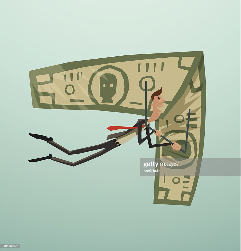 Businessman and money on a hang-glider