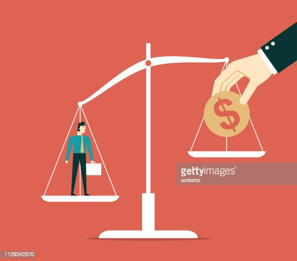 businessman and money on weighing scale - scales stock illustrations