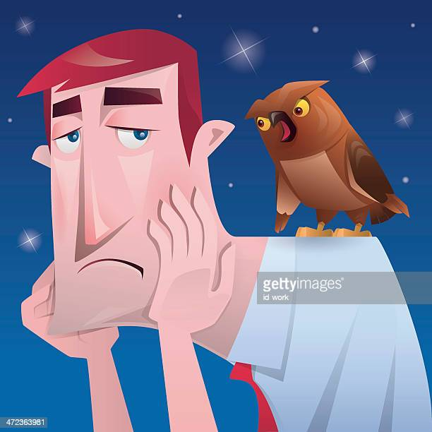 businessman and owl - toothache stock illustrations, clip art, cartoons, & icons