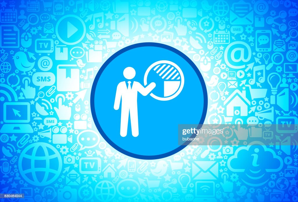 Businessman And Pie Chart Icon On Internet Technology Background
