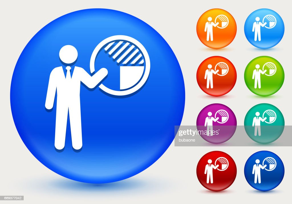 Businessman And Pie Chart Icon On Shiny Color Circle Buttons