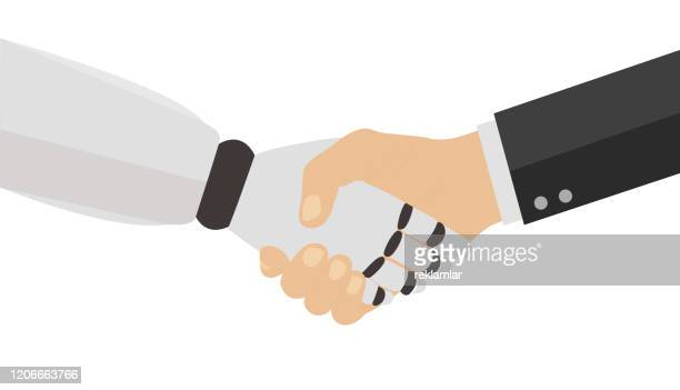 握手をするビジネスマンとロボット。人工知能ロボットハンドシェイクコンセプト。 - 工業用ロボット点のイラスト素材/クリップアート素材/マンガ素材/アイコン素材