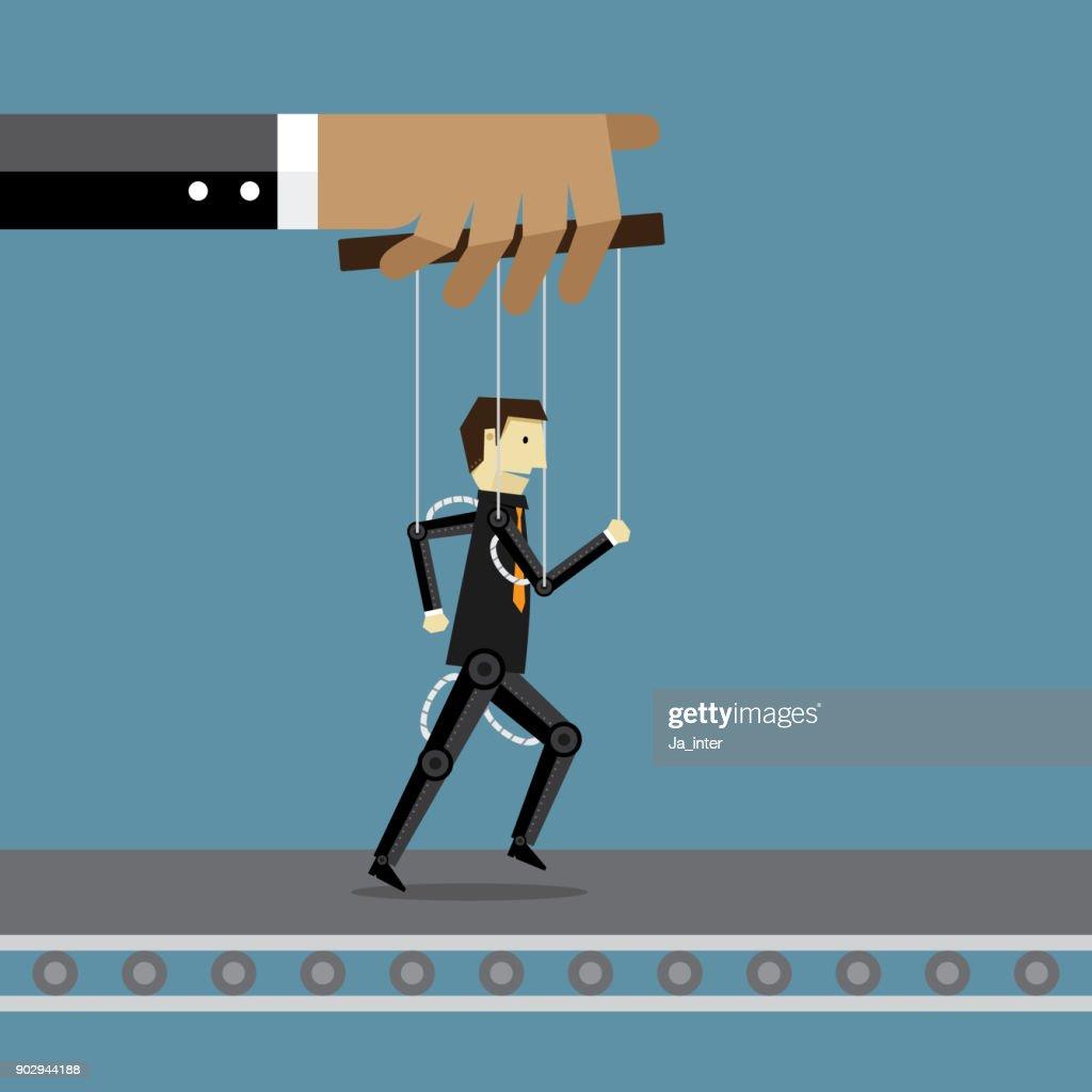 Businessman and robot : stock illustration