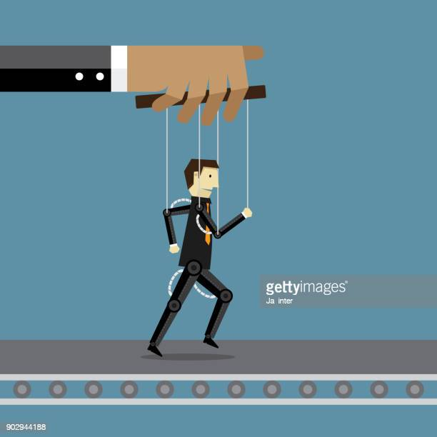 ilustraciones, imágenes clip art, dibujos animados e iconos de stock de empresario y robot - puppet