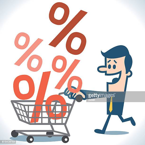 Businessman and shopping cart with percent symbols