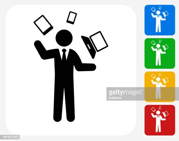 businessman and technology communication icon flat graphic design - juggling stock illustrations, clip art, cartoons, & icons