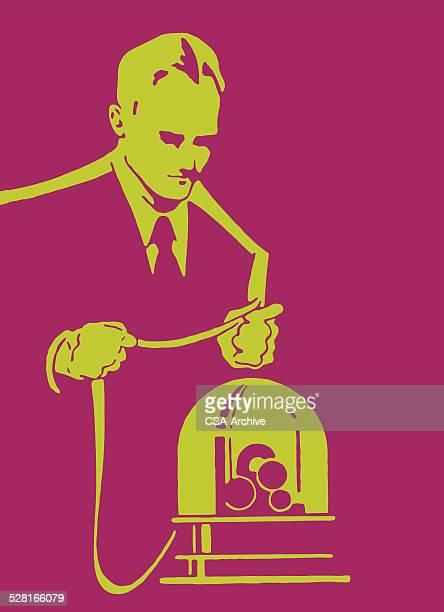 ビジネスマンおよびティッカーテープマシーン - 紙テープ点のイラスト素材/クリップアート素材/マンガ素材/アイコン素材