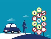 Businessman and traffic signs. Concept traffic sign vector illustration.