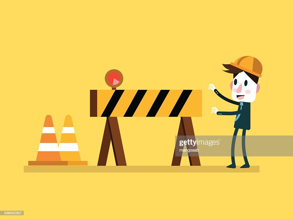 Businessman and Under Construction sign.