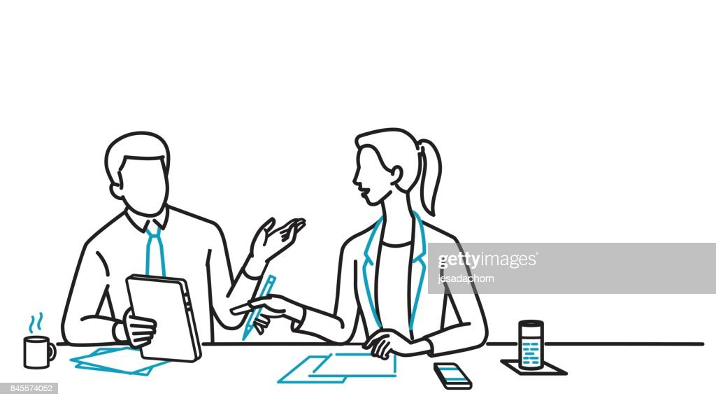 Businessman and woman discussing