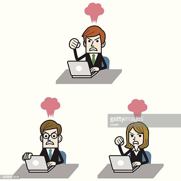Businessman angry at computer