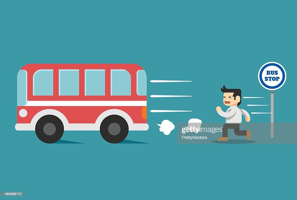Businessman arriving too late. Vector flat illustration