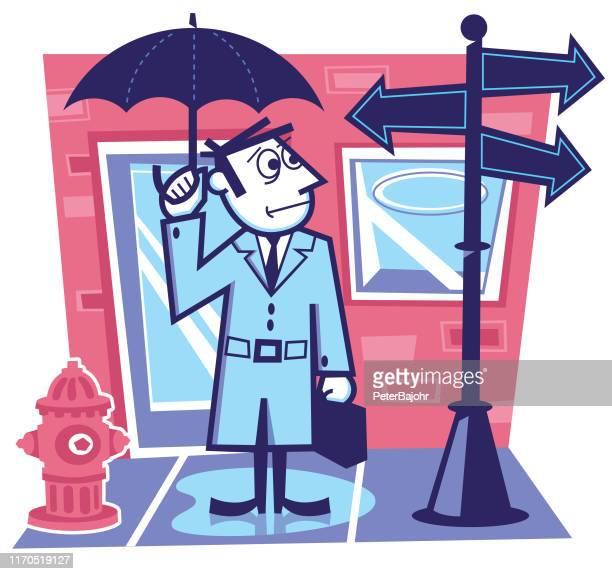 illustrations, cliparts, dessins animés et icônes de homme d'affaires à un carrefour - abribus