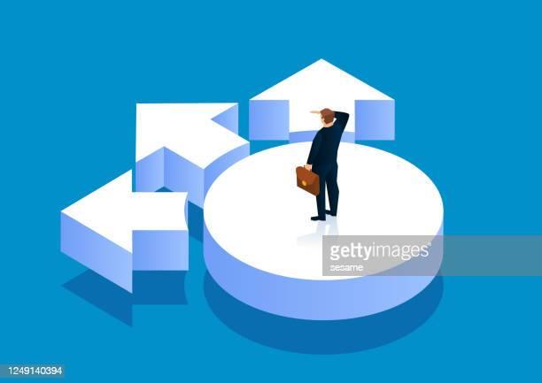 選択の方向性を考える岐路に立つビジネスマン - 迷う点のイラスト素材/クリップアート素材/マンガ素材/アイコン素材