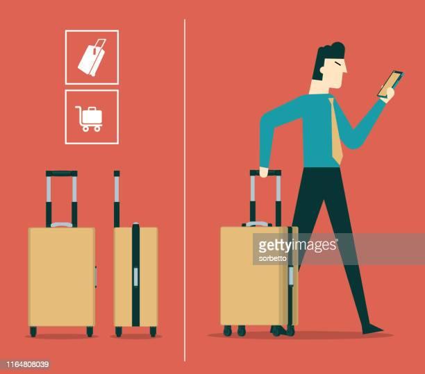 ilustraciones, imágenes clip art, dibujos animados e iconos de stock de empresario en el aeropuerto - viaje de negocios