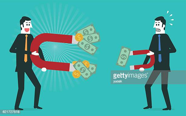 businessman attracts money with a large magnet - money politics stock illustrations