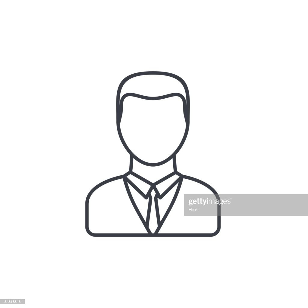 businessman avatar thin line icon. Linear vector symbol