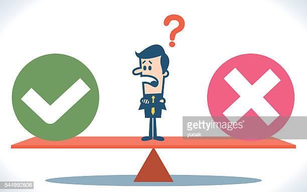 businessman balancing cross and tick symbols - weakness stock illustrations