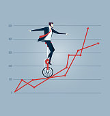Businessman balancing on the charts - Business concept