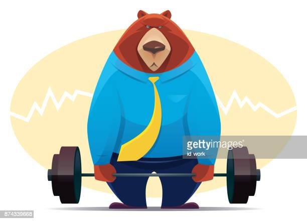 ilustraciones, imágenes clip art, dibujos animados e iconos de stock de barra elevación de empresario oso - entrenamiento de fuerza