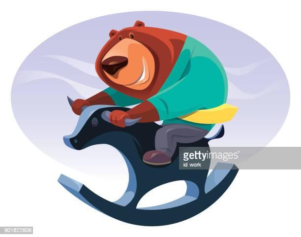 businessman bear riding rocking bull - lost stock illustrations, clip art, cartoons, & icons