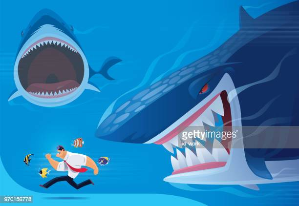 businessman being chased after by angry sharks via vr goggles - acanthuridae stock illustrations, clip art, cartoons, & icons