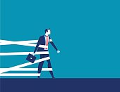 Businessman being held back by tape. Concept business vector.