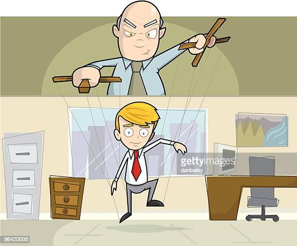 businessman being operated as puppet in office - conspiracy stock illustrations, clip art, cartoons, & icons