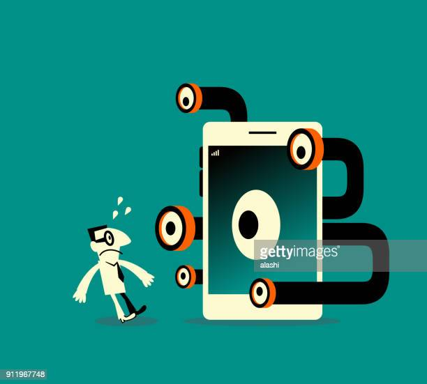 businessman being peeked by periscope from smart phone (mobile phone), we are paying with our data, privacy can be a problem with apps - personal information stock illustrations, clip art, cartoons, & icons