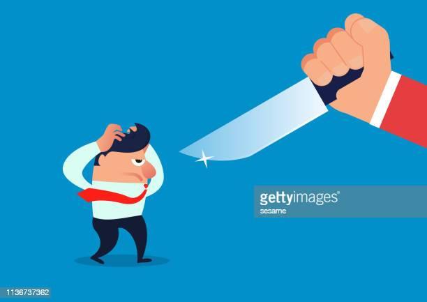 ilustrações, clipart, desenhos animados e ícones de homem de negócios que está sendo ameaçado por uma faca - office politics