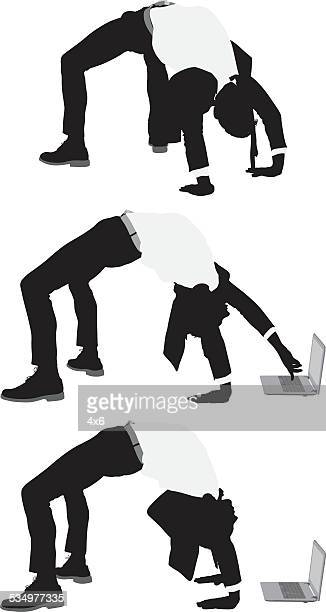 businessman bending backwards - dipping stock illustrations, clip art, cartoons, & icons