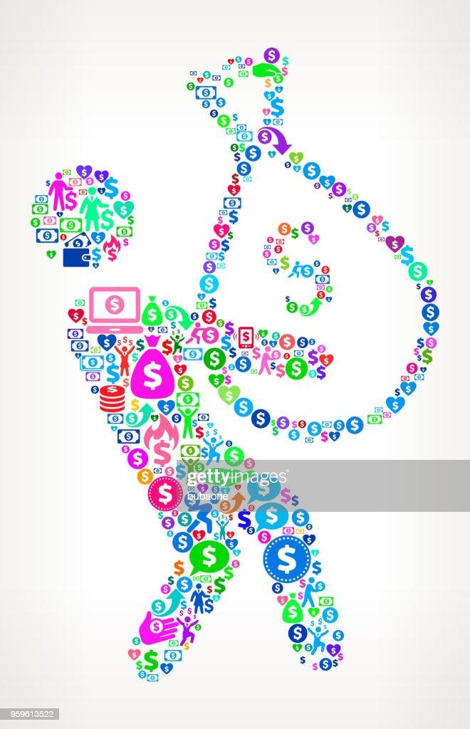 Geschäftsmann & große Geld Taschen Geld Vektormuster Symbol : Stock-Illustration