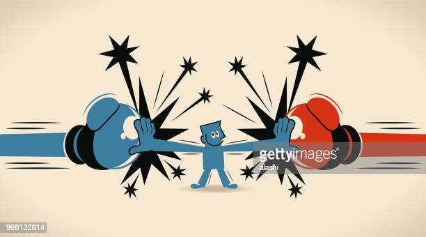 businessman block jabs & straight punches (big boxing glove), man stop conflict - boxing glove stock illustrations
