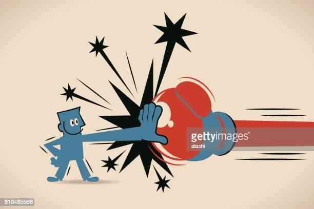 illustrations, cliparts, dessins animés et icônes de homme d'affaires (homme) bloc jabs & punchs droites (grand gant de boxe) - force
