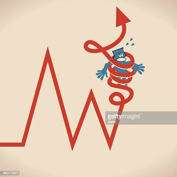 Businessman bound up (tied up) in red arrow
