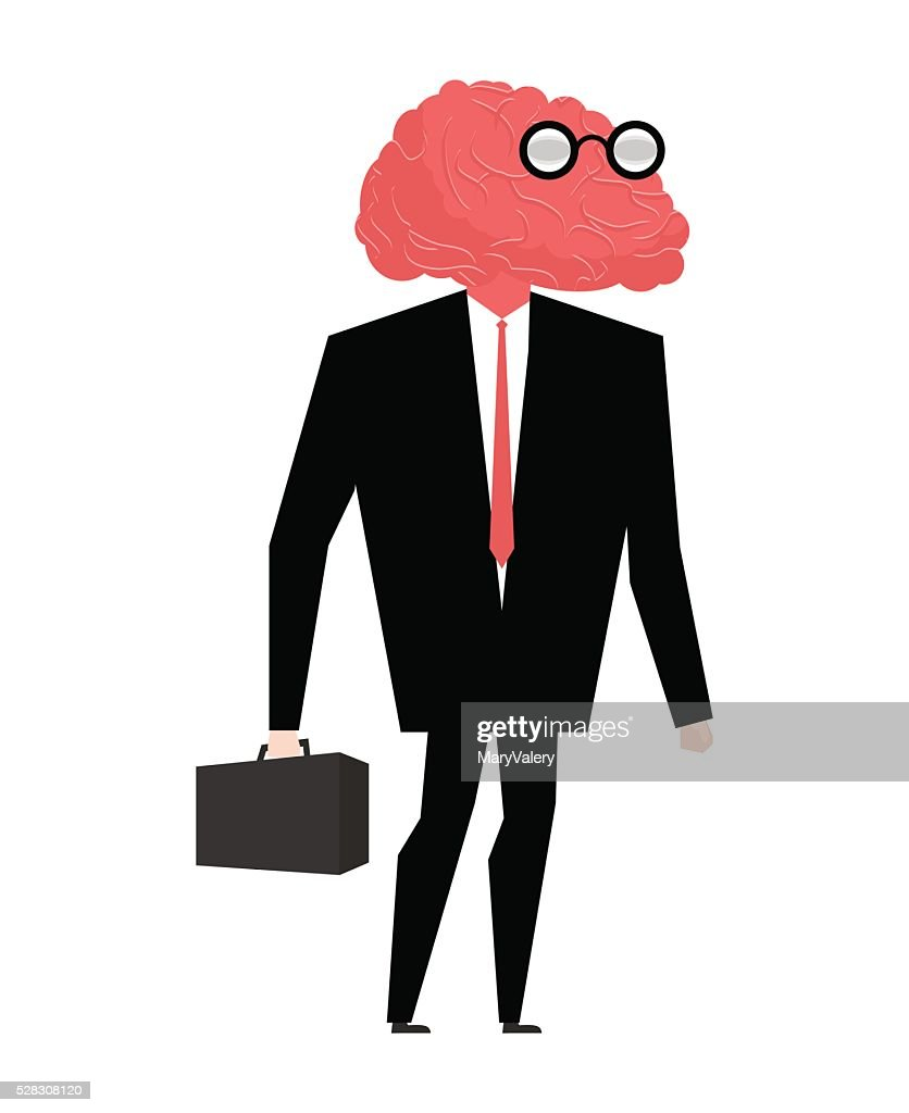 Businessman brain genius. Very clever manager. Brain wearing gla